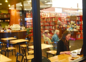 That's me, chillin' in the Bookman's cafe